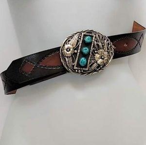 Genuine Turquois  Leather USA belt Southwestern 38